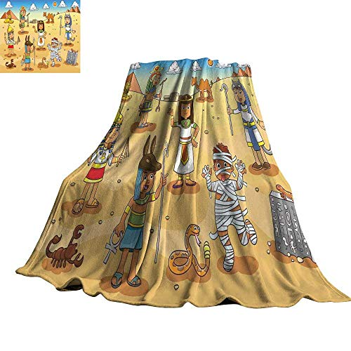 WinfreyDecor Cartoon Blanket Sheets Historical Egypt Characters with Pyramids Cleopatra King Mummy Child Design Image 60