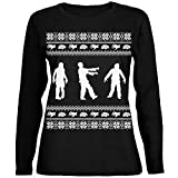 Zombie Ugly Christmas Sweater Black Womens Long Sleeve T-Shirt - Large