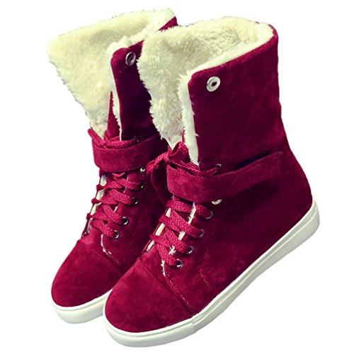 Boots Red Snow HooH Snow Women Boots Warm Velvet Folding Boots Winter Buckle Short 57vBaw