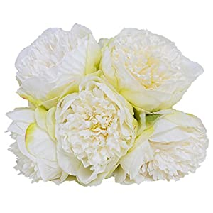 Greentime 1Bouquet 5 Heads Artificial Peony Silk Fake Flower Leaf Living Room Home Bridal Wedding Party Festival Bar Table Decor 6