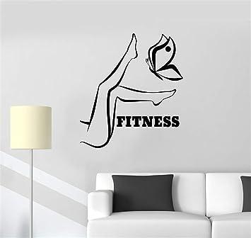 pegatinas de pared para dormitorios Fitness Chica Mujer Piernas y mariposa Gym Motivación Mural: Amazon.es: Bricolaje y herramientas