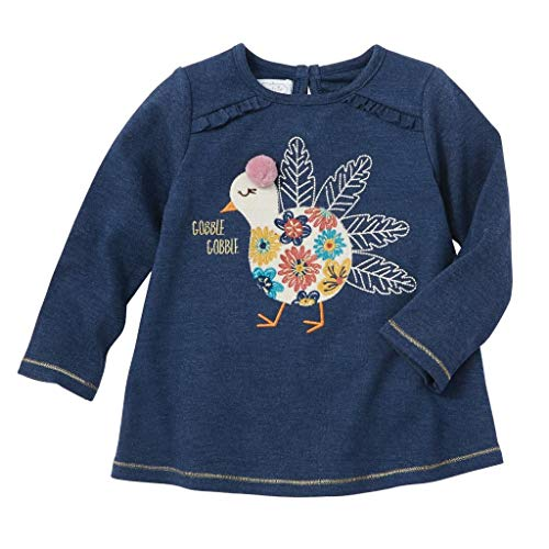 Mud Pie Kids Girls Thanksgiving Turkey Denim Blue Color Tunic Top Medium (2T-3T) -