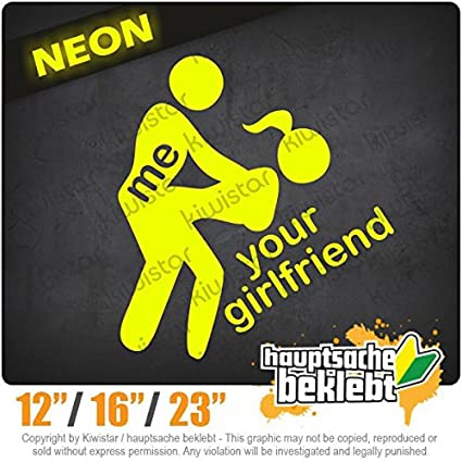 Amazon.com: Me / Your Girlfriend - Available in 3 sizes 15 COLORS - Neon + Chrome! Decal Sticker Bumper Rear Window Vinyl Motorcycle: Automotive