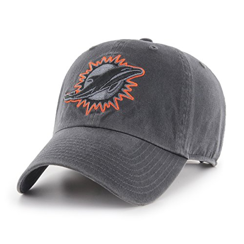 NFL Miami Dolphins Men's OTS Challenger Adjustable Hat, Dark Charcoal, One Size