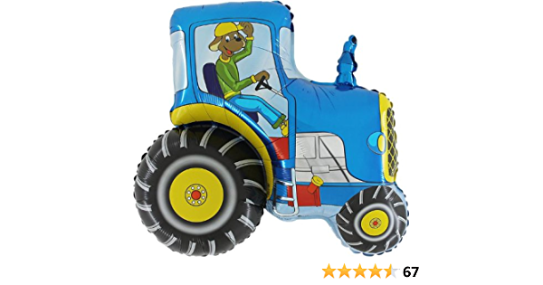 31 Inch Blue Tractor Shaped Foil Balloon CS140