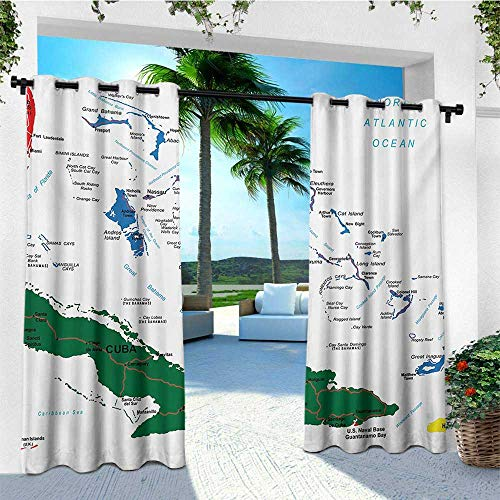 (leinuoyi Wanderlust, Porch Curtains Outdoor Waterproof, Bahamas Map Beach Cayman Islands Geography District Holiday Tourism, Outdoor Patio Curtains W72 x L96 Inch Hunter Green Blue Red)