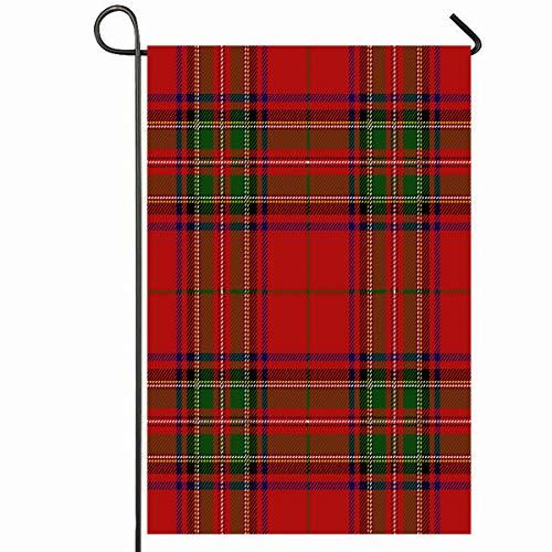 Ahawoso Outdoor Garden Flag 28x40 Inches Plaid Red Checkered Clan Stewart Scottish Royal Track Tartan Stuart Culture Detailed Ethnic Flannel Seasonal Home Decorative House Yard - Royal Stuart Tartan