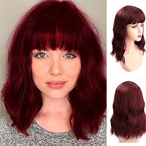 UHIBROS Short Curly Wig With Bangs For Women Wine Red Wigs Highlight Synthetic Heat Resistant Bob Wavy Wig For Girl Colorful Cosplay,Party, Natural Looking Daily Wigs (14 Inch)