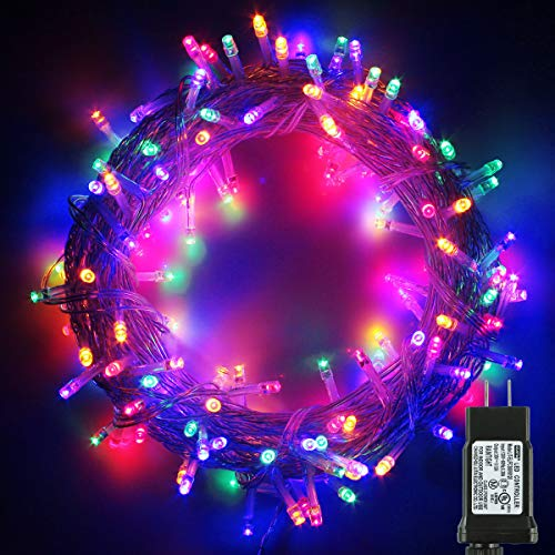 PMS 200 LED String Fairy Lights on Clear Cable with 8 Light Effects, Low Voltage Transformer Included, Ideal for Christmas, Xmas, Party,Wedding,etc (200 LEDs, Multi)