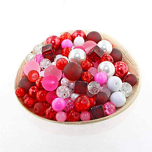 Glass Bead Mix Assorted 25 Valentine Color Combination 6mm to 12mm - BMX017 ()