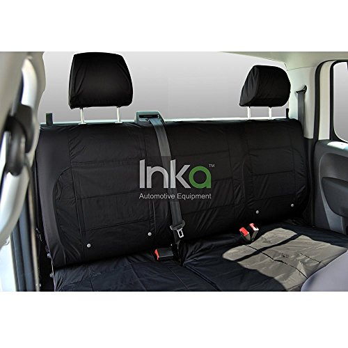 Inka Corp. Nissan Navara Acenta Fully Tailored Waterproof Rear Seat Covers Without Centre Armrest 2004-2015 Heavy Duty Right Hand Drive Black- INK-WSC-2033: