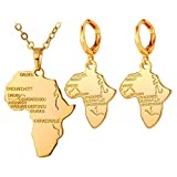 Women Africa Map Pendant Necklace & Earrings Jewelry Set 18K Gold Plated
