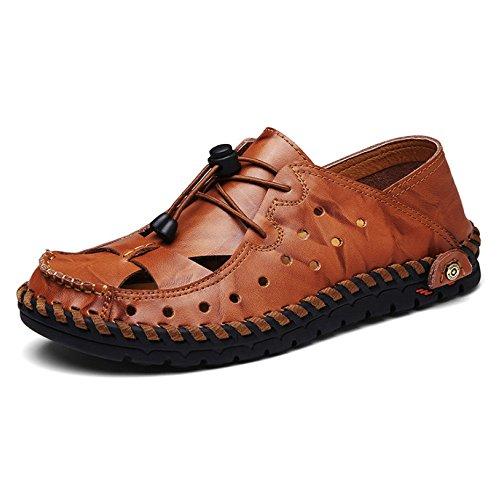 HGDR Men's Black Sandals Leather Closed-Toe Outdoor Sandals Trekking Shoes Beach Shoes Sports Sandals Brown