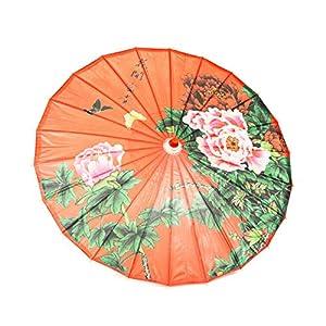 ASIAN HOME Rainproof Handmade Chinese Oiled Paper Umbrella Parasol 33″ Peony