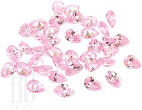 Be You Pink Colour Cubic Zirconia AAA Quality Diamond Cut Pears Shape loose gemstone
