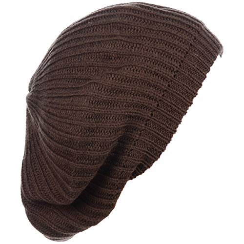 - BYOS Ladies Winter Solid Chic Slouchy Ribbed Crochet Knit Beret Beanie Hat W/WO Flower Adornment, Soft Touch (Brown)