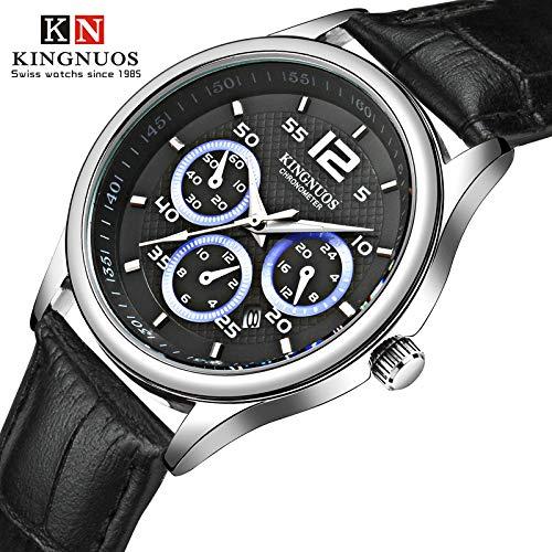 high-end Three six-pin Men Strip Watch Quartz Watch Waterproof Leather Strap Calendar Watch (Black Belt Black Plate ()