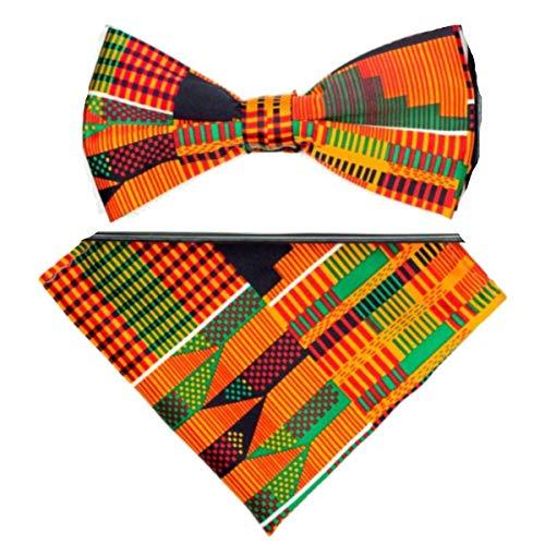 Men's Microfiber Kente African Print Pretied Bow Tie & Pocket Square Hankie Gift Set ()