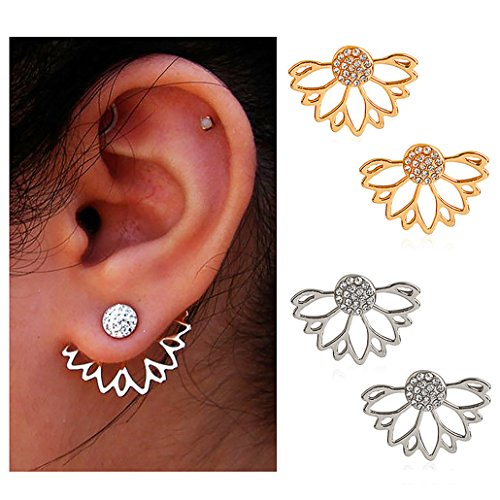 Suyi Fashion Hollow Lotus Flower Earrings Crystal Simple Chic Stud Earrings Set AGS