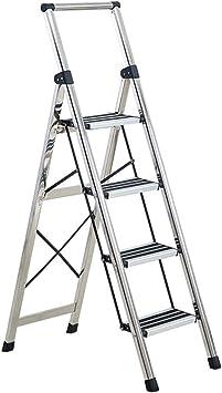 Escalera plegable Cuatro pasos de escalera, fuerte soporte de cargas de aleación de aluminio de tijera plegable frívolo Escalera Escalera Almacén -plegadizas Espesor 5,5 Cm Multifuncional: Amazon.es: Bricolaje y herramientas