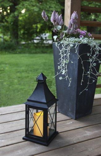 Romantisch dekorative XL - LED Laterne mit Tür aus Metall und Glas- INDOOR und OUTDOOR - sehr edel - Größe : 36 cm x 14 cm - in schwarz - mit LED - Kerze flackernd - mit Timer - aus dem KAMACA-SHOP