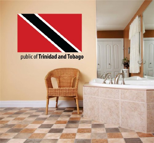 Top Selling Decals - Prices Reduced : Public Of Trinidad And Tobago Flag Country Pride Symbol Sign / Banner Emblem - Home Decor Boys Girls Dorm Room Bedroom Living Room Picture Art Graphic Design Car Window Text Lettering Mural – Size : 5 Inches X 20 Inches - Vinyl Wall Sticker - 22 Colors Available (Glasses Text Symbol)