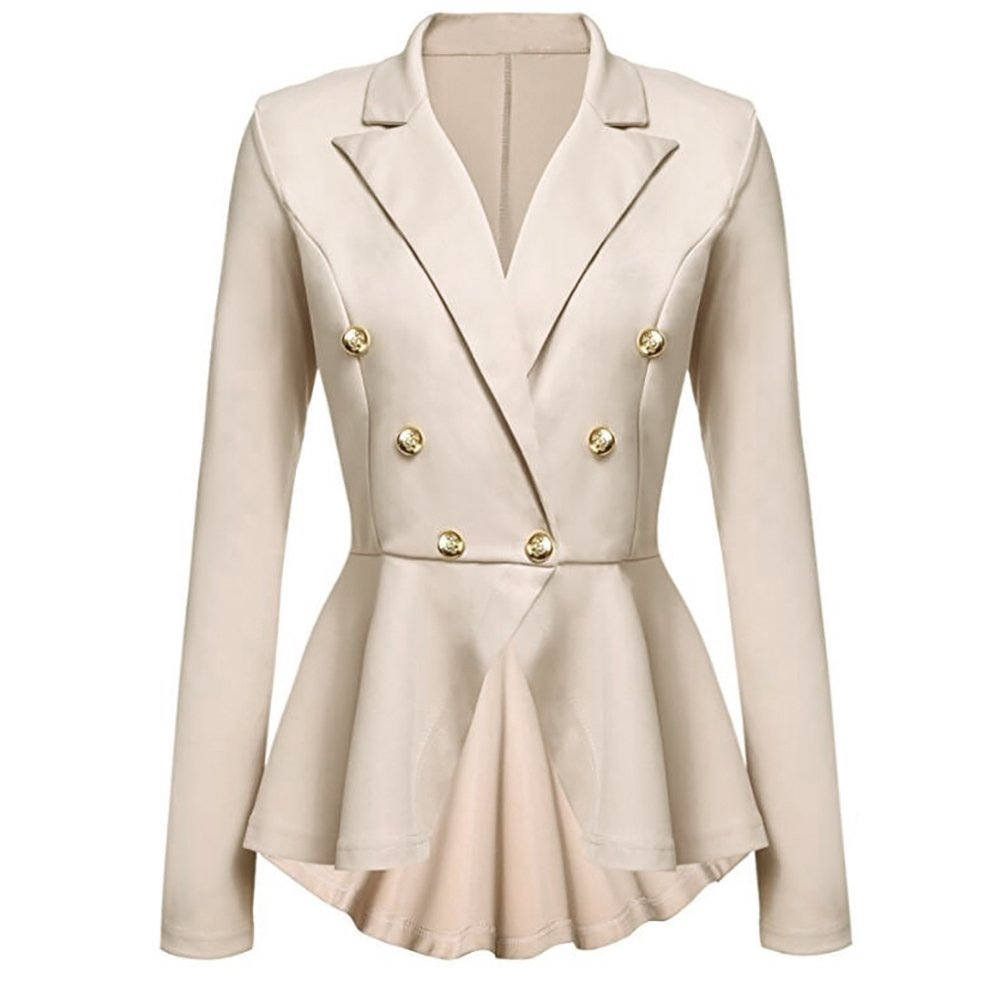 iBaste Womens Top Fashion Blazer Jacket Suits, Buttons Decorated Slim Fit Skirt Coat Long Sleeve NVSY0224
