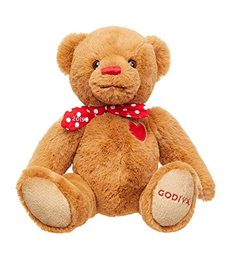 Godiva Leosco 2019 Valentine's Day Collectible Plush Teddy Bear with Polka Dotted Bow ()