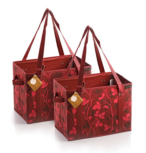 PreserveNext Reusable Classic Tote / Collapsible Shopping Box Set with Reinforced Bottom, Side Handles and Key Ring Clasp - Carnelian Red (2 Pack)