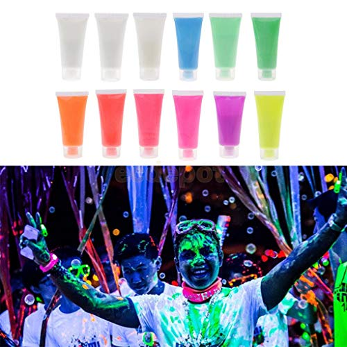 12Pcs 12 Colors Uv Glow Neon Fluorescent Face