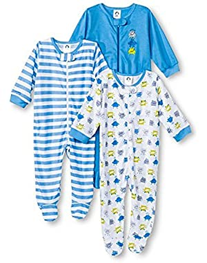 Gerber Onesies Baby Boy Sleep N' Play Sleepers 3 Pack Monster