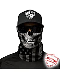 Salt Armour Face Mask Shield Protective Balaclava Bandana MicroFiber Tube Neck Warmer (Blackout American Flag Skull)