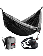 HONEST OUTFITTERS Double Camping Hammock with Hammock Tree Straps,Portable Parachute Nylon Hammock for Backpacking Travel