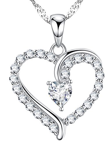Ladies 18k Gold Diamond Necklace (Mothers Day Gifts You Are the Only One Love Heart Pendant for Mom Wife Women Diamond Necklace Jewelry Birthday Anniversary Gifts for Her Daughter Girlfriend Sterling Silver Swarovski 18