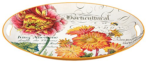 Michel Design Works Decorative Oval Metal Platter, 20.5 x 15.25-Inch, Blooms and -