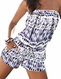 Sexyshine Women's Strapless Off Shoulder Printed Beachwear Short Rompers Jumpsuits Blue,L
