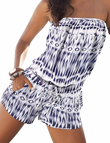 Sexyshine Women's Strapless Off Shoulder Printed Beachwear Short Rompers Jumpsuits Blue,S