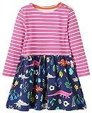 MISSHALO Girls Cotton Longsleeve Cartoon Applique Flower Dresses,Girls Striped CasualT-Shirt Dress,4T/4-5YRS,1738019