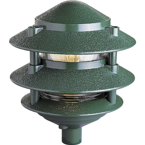 Progress Lighting P5204-38 Pagoda 1 Light Landscape in Green (Landscape Light Pagoda)