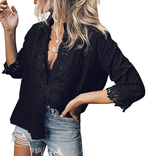 PAPOSON Women Summer Crochet Lace Shirt Flower Embroidery 3/4 Sleeve High Neck Casual Blouse Top (Black,S)