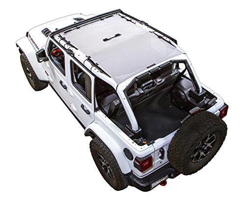 SPIDERWEBSHADE Jeep Wrangler JL Mesh Shade Top Sunshade UV Protection Accessory USA Made with 5 Year Warranty for Your JL 4-Door (2018 - current) in White ()