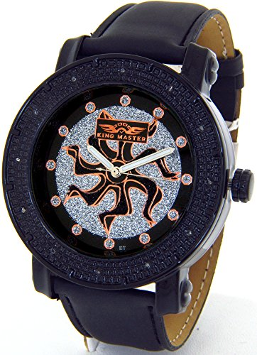 Mens King Master Genuine Diamond Watch Black Case Black Leather Band w/ 2 Interchangeable Watch Bands #KM-531