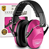 Vanderfields Earmuffs for Kids - Hearing Protection Muffs for Children Small Adults Women Foldable Design Ear Defenders Protector with Adjustable Padded Headband for Optimal Noise Reduction - Pink