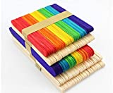 Moonnight Store Colored Wooden Popsicle Sticks Natural Wood Ice Cream Sticks Kids DIY Hand Crafts Art Ice Cream Lolly Cake Tools SN1162 (wood)