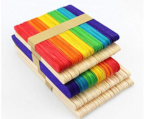 Moonnight Store Colored Wooden Popsicle Sticks Natural Wood Ice Cream Sticks Kids DIY Hand Crafts Art Ice Cream Lolly Cake Tools SN1162 (wood) by Moonnight Store (Image #6)