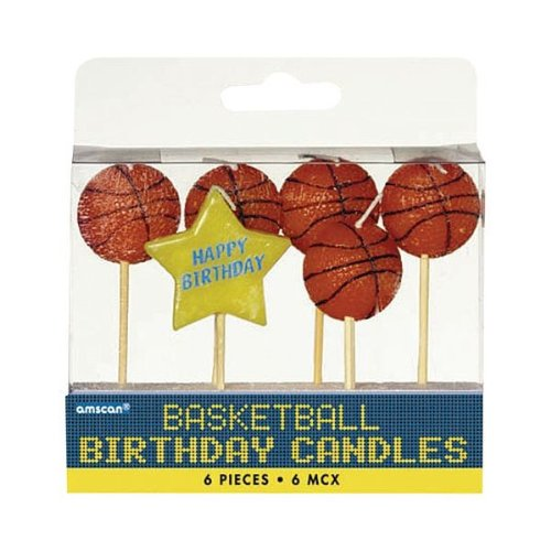 Price comparison product image Amscan Basketball Dream Birthday Party Cake Topper Candle Set (Pack of 6),  Multicolor,  3""