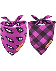 Realeaf Halloween Dog Bandanas 2 Pack, Triangle Reversible Fall Pet Scarf for Boy or Girl, Premium Durable Fabric, Multiple Sizes Offered, Bandana for Small Medium Large and Extra Large Dogs