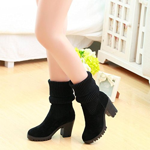 Boot High High Tube High Knee Heels Boots Womens Winter Kintted Shoes Inkach Boots Ankle Black 8CYBqAWxw