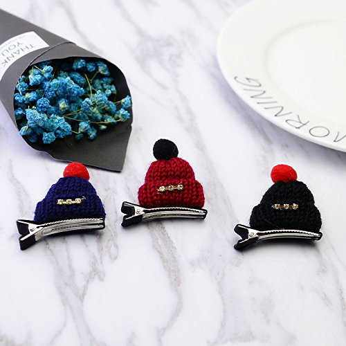 Korean version knitting wool meters good Chrisas hat small edge clip hairpin top folder little girl children's jewelry for women girl (Pick A Little Ladies Costumes)