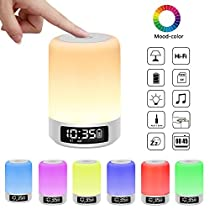 YSD Bedside Lamp with Bluetooth Speaker, Touch Sensor Table Lamp, Dimmable Warm White Light & Color Changing RGB, Alarm Clock & Hands Free Call Best Gifts for Women Men Teens KidsChildren.